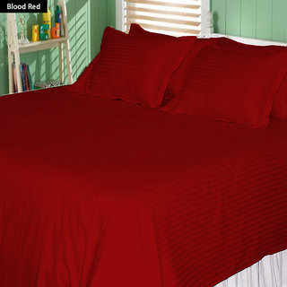 AVI Super Classic High Quality 310 TC Sateen Striped Cotton Bed Sheet With 2 Standard Size Pillow Cover, Blood Red (100