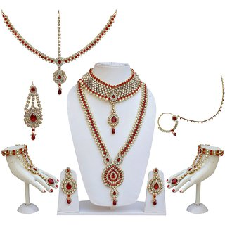 f26ecaf4acfa5 Lucky Jewellery Bridal Designer Red Color Pearl Stone Wedding Set For Girls  & Women