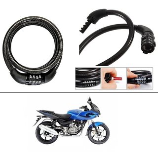 AutoStark 4 Digit Number Lock - Bike Helmet Lock / Steel Cable Lock / Bicycle Cycle Lock For Bajaj Pulsar 220 DTS-i