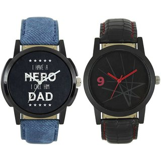 KDS Men New Stylish Hero Dad and Met Black Leather Strap WatchFX-MW-004-007