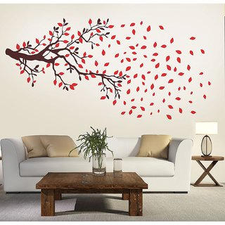 Wall Dreams Red Autumn Leaves Wall Stickers (100cmX210cm)
