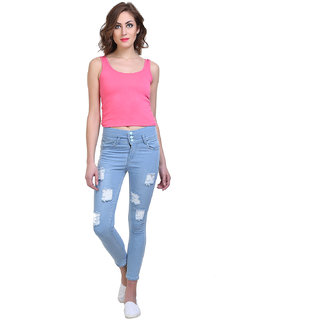 Code Yellow Women's Icy Blue Color Stylish Ripped Mid-Waist Jeans
