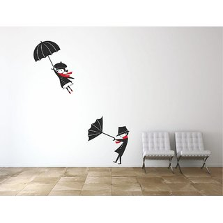 Wall Dreams Trendy Black & White Flying Girl & Boy in Wind With Umbrella Wall Stickers(70cmX25cm)