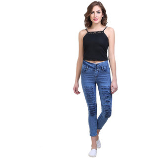 Code Yellow Women's Blue Color Stylish Ripped Washed Jeans