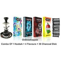 Onlineshoppee Combo Pack Of 1 Black Hookah,4 Flavours,36 Charcoal Disk