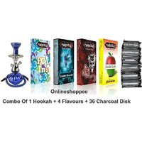 Onlineshoppee Combo Pack Of 1 Blue Hookah,4 Flavours,36 Charcoal Disk