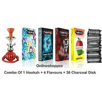 Onlineshoppee Combo Pack Of 1 Red Hookah,4 Flavours,36 Charcoal Disk