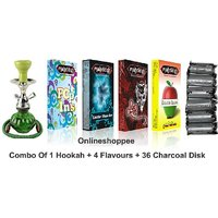 Onlineshoppee Combo Pack Of 1 Green Hookah,4 Flavours,36 Charcoal Disk
