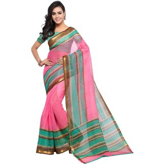 Meia Pink & Green Art Silk Printed Saree With Blouse