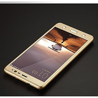 BRAND FUSON 360 Degree Full Body Protection Front Back Case Cover (iPaky Style) with Tempered Glass for VIVO Y21 (Gold)