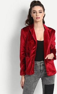 Fabrange Red Velvet Blazer For Women