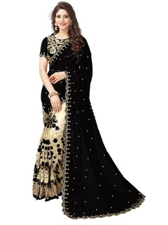 Bhavna Creation Crazyddeal Black  Cream Georgette Embroidered Saree With Blouse