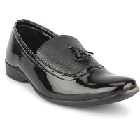 Quarks Men's Black Synthetic Slip On Party Wear Formal