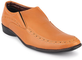 Quarks Men's Tan Synthetic Slip On Formal Shoes