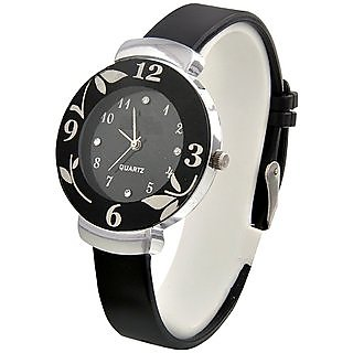 NG Round Dial Black Pu Analog Watch For Women