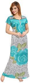 Diljeet Women's Satin Nighty-(green)-dotted floral Print