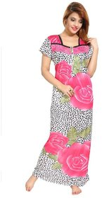 Diljeet Women's Satin Nighty-(pink)-dotted floral Print
