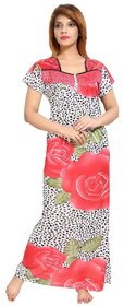 Diljeet Women's Satin Nighty-(red)-dotted floral Print