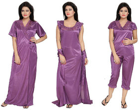 Diljeet Women's Satin Nighty-4Pc set-Nighty/Robe/Top/Capri(Purple)