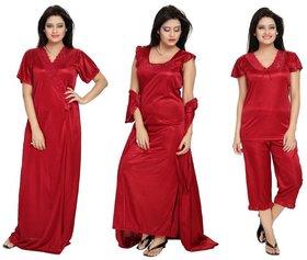 Diljeet Women's Satin Nighty-4Pc set-Nighty/Robe/Top/Capri(Red)