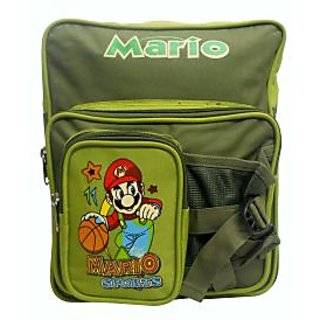 Spice Polyster Mario School Bag with Front bottle pocket Green