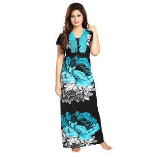 Diljeet Women's Satin Nighty-(Blue)-Floral Designer print