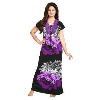 Diljeet Women's Satin Nighty-(Purple)-Floral Designer print