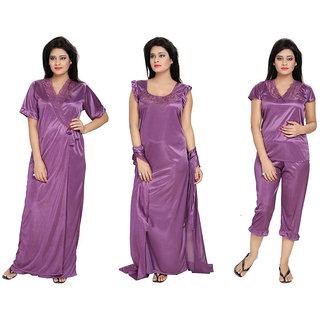 38f1f1b1b1 Buy Diljeet Women s Satin Nighty-4Pc set-Nighty Robe Top Capri(Purple)  Online - Get 80% Off