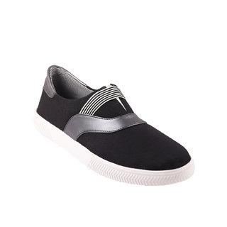 Quarks Men's Black Smart Slip On Canvas Casual Shoes
