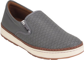 Quarks Men's Gray Synthetic Slip On Smart Casual Shoes