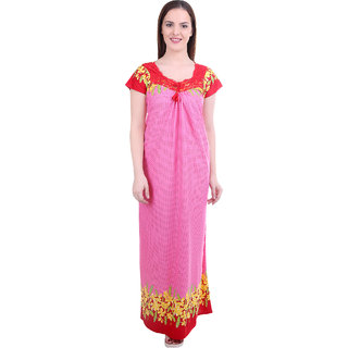 d9b5915a07 Buy Diljeet Women s Satin Nighty-Dotted Print-(Pink) Online - Get 75 ...