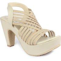 Ladies Sandal Digni Cream Cone Heels (DDWF-R-5-CREAM-40