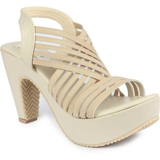 faf5b42cb9c7 Buy Ladies Sandal Digni Cream Cone Heels (DDWF-R-5-CREAM-37) Online - Get 1%  Off