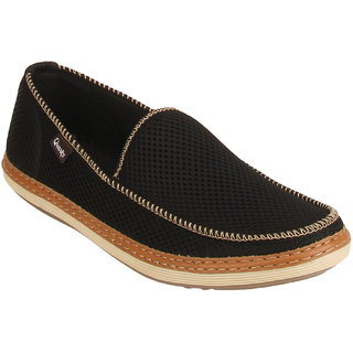 Quarks Men's Black Smart Slip On Casual Shoes