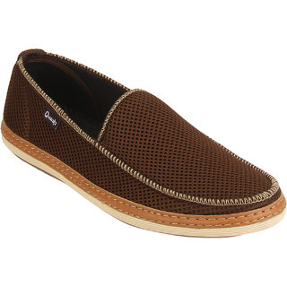 Quarks Men's Brown Smart Slip On Casual Shoes