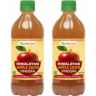 NutrActive Himalayan Apple Cider Vinegar With Mother of Vinegar - Pack of 2 (500 ml each)
