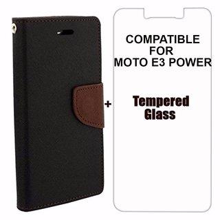 BRAND FUSON Mercury Diary Wallet Flip Case Cover for Motorola Moto E3 Power Brown  Black Premium Quality + Tempered Glass