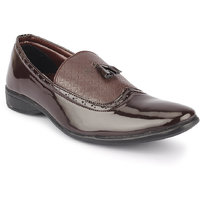 Quarks Men's Brown Synthetic Slip On Party Wear Formal