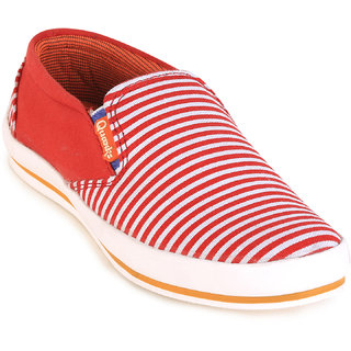 Quarks Men's Red Smart Slip On Canvas Casual Shoes