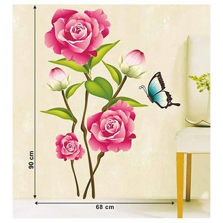 Wall Dreams Pink Rose Flower Bunch Art Wall Stickers(60cmX90cm)