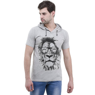 Lime Cotton Printed half Sleeve Hooded T Shirt For Men