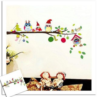 Wall Dreams Cute Owl Family Celebrating Christmas With Gifts In Winter Outfit On A Tree Branch Wall Stickers(70cmX25cm)