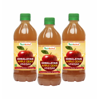 NutrActive Himalayan Apple Cider Vinegar With Mother of Vinegar - Pack of 3 (500 ml each)