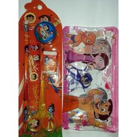 Combo Pack Of Chota Bheem Stationery Set & Pouch Pencil Case