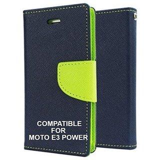 BRAND FUSON Mercury Diary Wallet Flip Case Cover for Motorola Moto E3 Power Blue Premium Quality