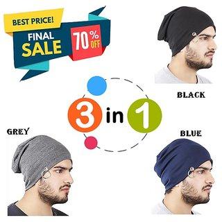 32c785f4467 Buy Beanie Cap Stylish Collection Ring   woolen cap   Beanie Cap  winter cap   fall hat (Color Black + Blue + Grey) Online - Get 76% Off