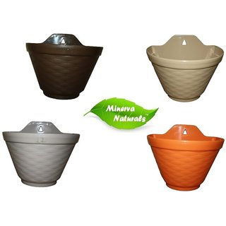 Minerva Naturals - Small Wall Hanging Pot ( Set of 4 ) Multi Color
