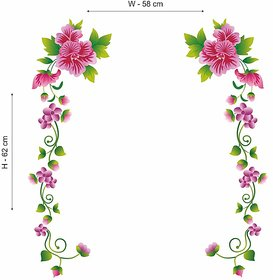 Pink flower wall sticker with olive floral vines (70cmX25cm)