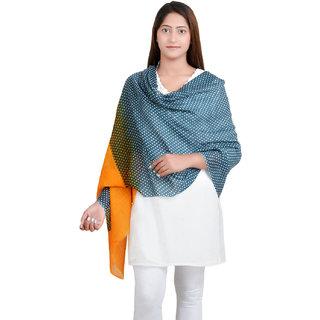 Anekaant Grey/Yellow Dotted Print Wool Shawl (70X200 cm)