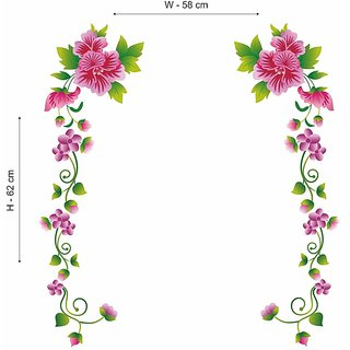 Wall Dreams Pink flower wall sticker with olive floral vines (70cmX25cm)